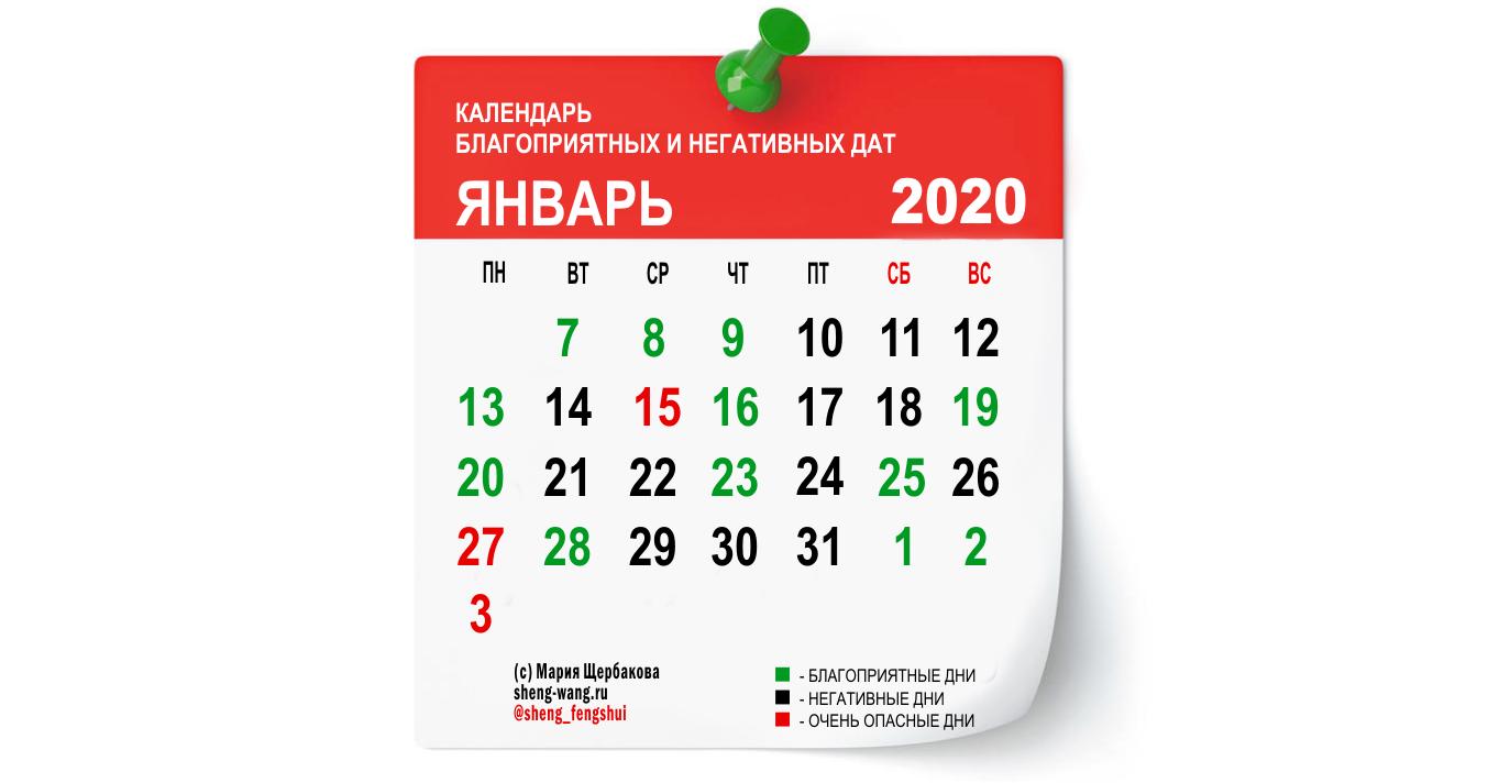 Календарь благоприятных и негативных дней на январь 2020