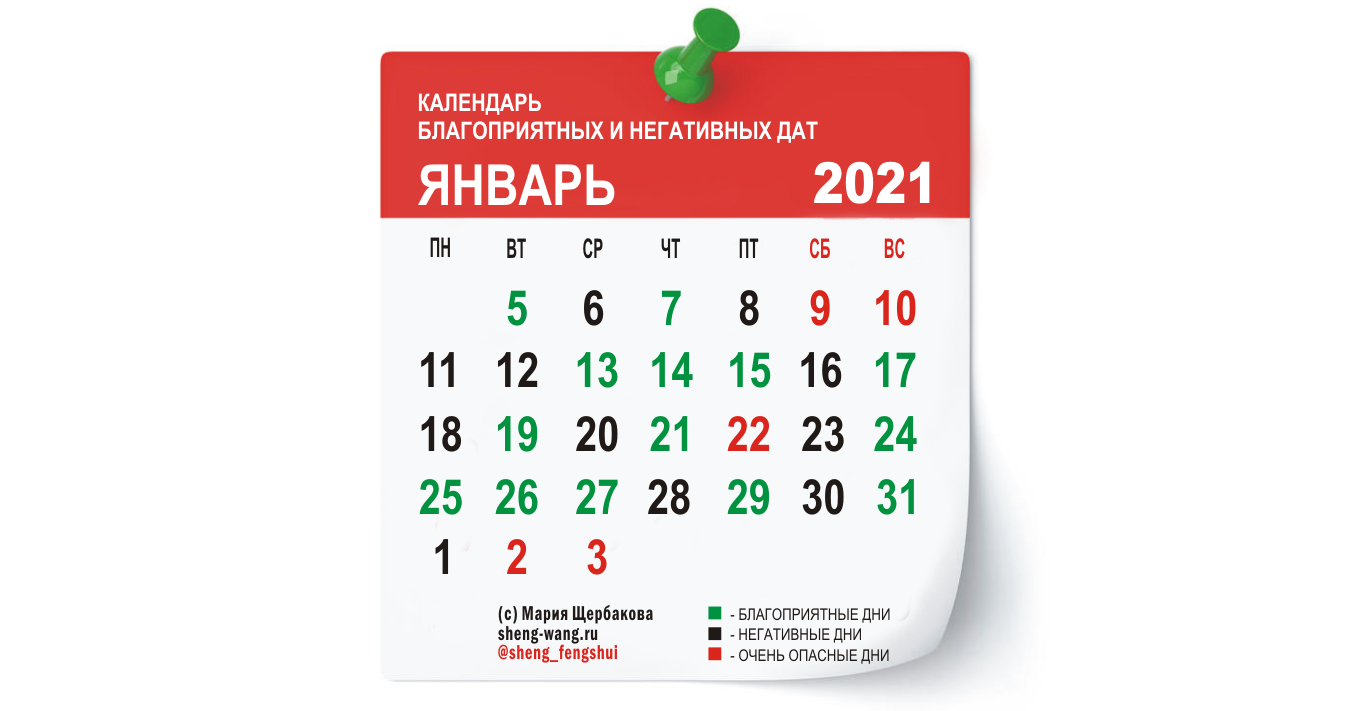 Календарь благоприятных и негативных дней на январь 2021