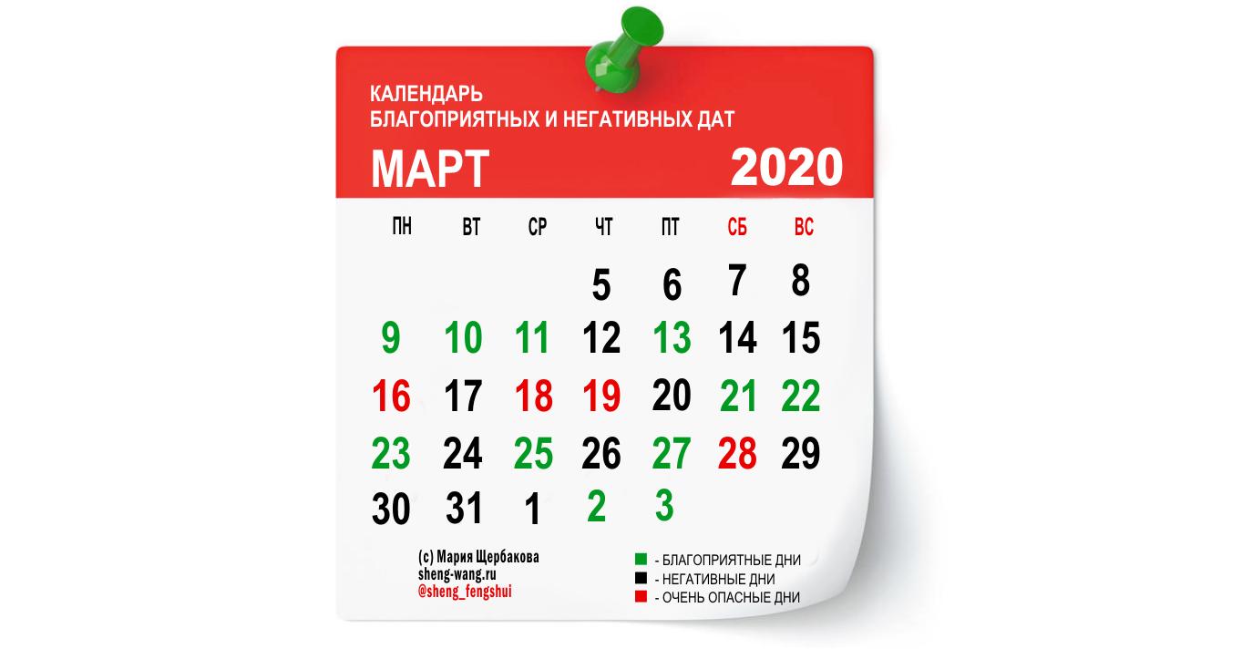 Календарь благоприятных и негативных дней на март 2020