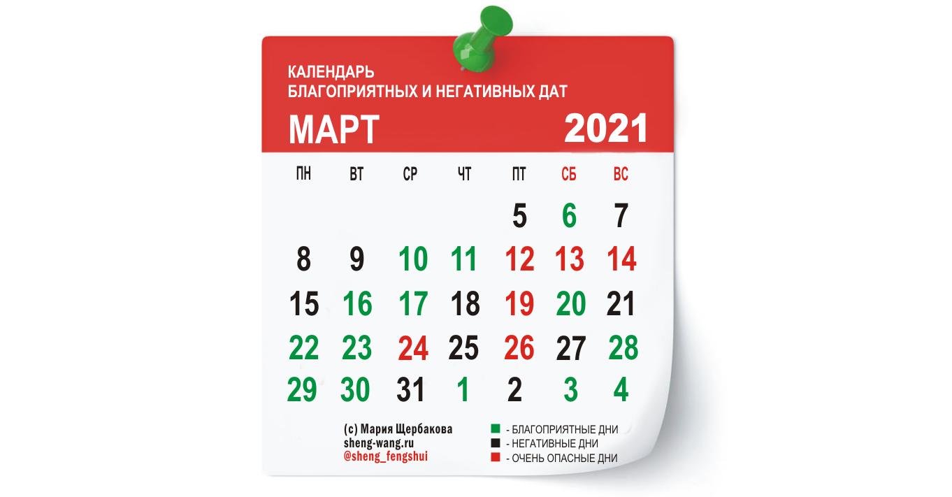 Календарь благоприятных и негативных дней на март 2021