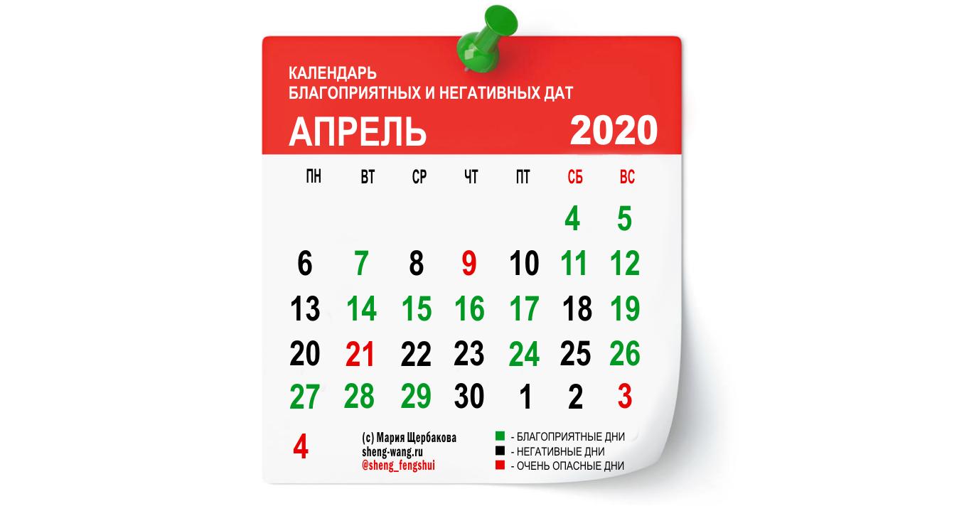 Календарь благоприятных и негативных дней на апрель 2020