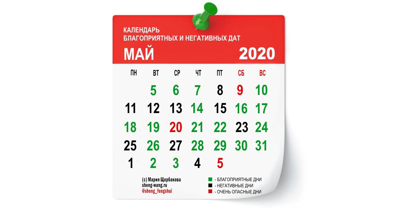 Календарь благоприятных и негативных дней на май 2020