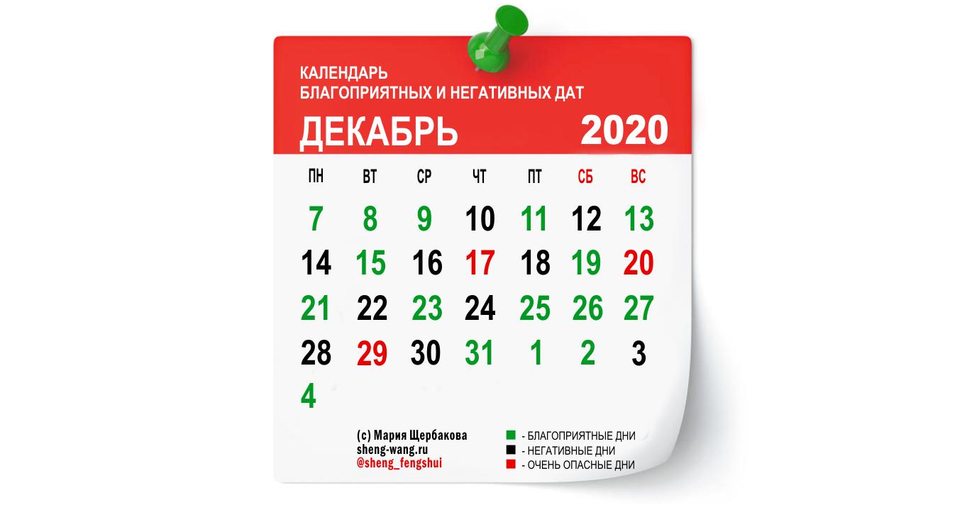 Календарь благоприятных и негативных дней на декабрь 2020